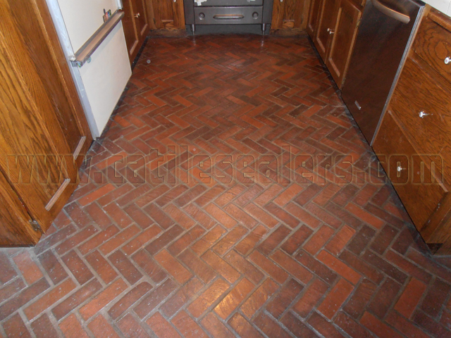Interior Brick Floors With Years Of Built Up Sealer.
