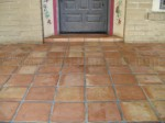 Mexican Saltillo paver tile completely stripped to bare tile and sealed with penetrating sealer. (natural look, no added shine)