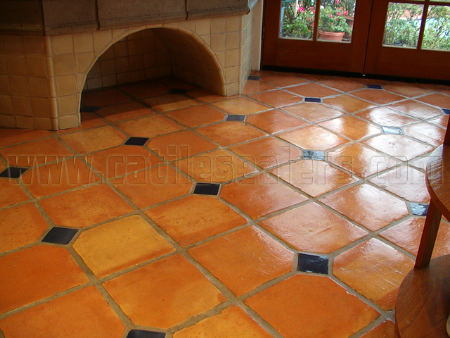 Saltillo tile mexican paverscalifornia tile sealers california mexican saltillo paver tile completely stripped to bare tile acid washed neutralized and sealed ppazfo
