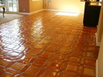 Mexican Saltillo paver tile completely stripped to bare tile and sealed with water based acrylic paver sealer. (medium shine)