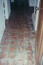 Interior Tecate tiles that were water  damagedby excessive rain that entered under the front door.