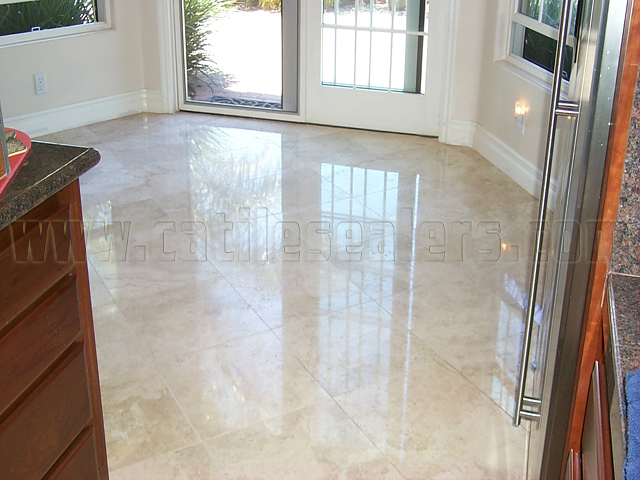 New Honed Travertine Stone Floors Cleaned Diamond Polished