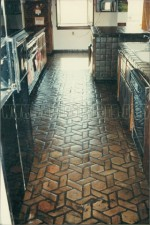 Mexican Saltillo paver tile completely stripped to bare tile and sealed with water based acrylic paver sealer.  (low shine)