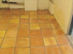 Mexican Saltillo paver tiles completely stripped to bare tile, acid washed and sealed with medium shine sealer.